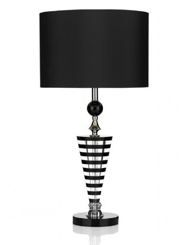 Dar Hudson Table Lamp K9 Crystal Black/ Clear complete with Shade HUD4222 (Class 2 Double Insulated)